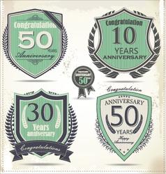 Anniversary retro labels vector