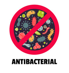 Antibacterial sign flat style vector