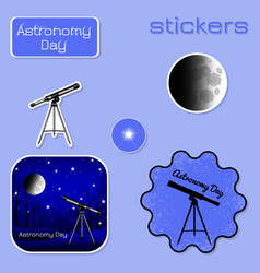 astronomy day stickers in shades of blue vector image