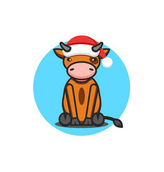 Baby bull wearing santa claus hat symbol 2021 vector