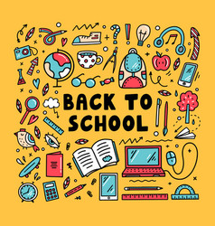 Back to school and education doodles vector