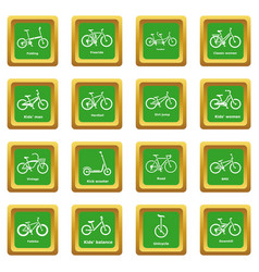 bicycle types icons set green square vector image