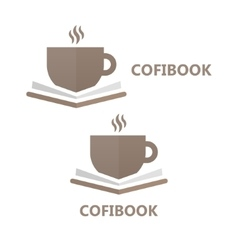 book and a cup coffee logo concept vector image
