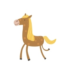 Brown Horse With Yellow Crest Walking vector image