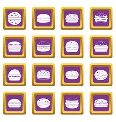 Burger icons set purple vector