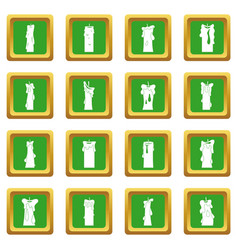 Candle forms icons set green vector