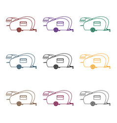 caravan icon in black style isolated on white vector image