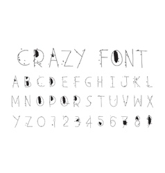 Careless funny letters crazy font vector image