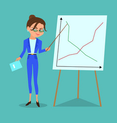 cartoon business woman with a pointer vector image