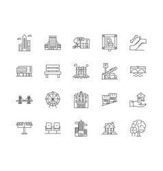 city elements line icons signs set vector image