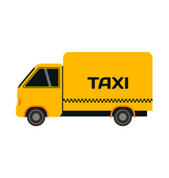 City road yellow taxi truck transport vector