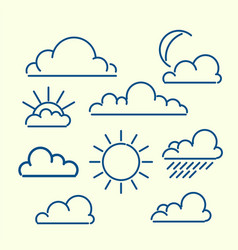cloud sun moon rain loutlined icon set meteo vector image