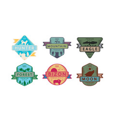 collection badges animals and nature set logo vector image