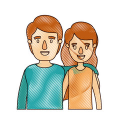 Color crayon stripe cartoon half body couple woman vector