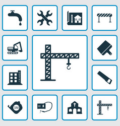Construction icons set with crane putty knife vector