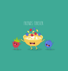 cornflakes blueberry raspberry vector image