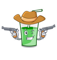 cowboy green smoothie character cartoon vector image