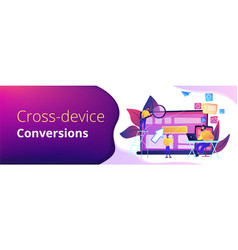 Cross-device tracking concept banner header vector