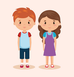 Cute and little kids couple vector