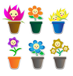 cute flowers sticker in pot vector image