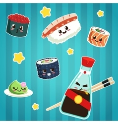 Cute Japanese food stickers vector