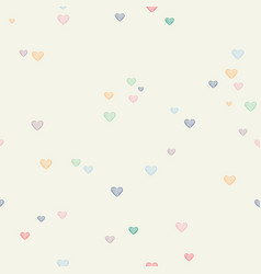 cute love seamless pattern of heart doodles vector image