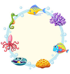 cute sea creature border vector image