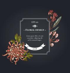 Dark badge design with japanese chrysanthemum vector