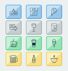 eating icons set with restaurant hot drink vector image