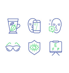 Face biometrics eyeglasses and face declined vector
