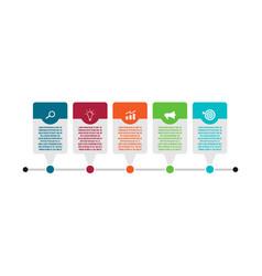 five steps process chart slide template vector image