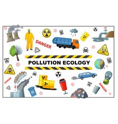 Flat ecology pollution concept vector