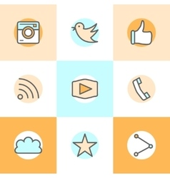 Flat line set icons designs of camera like bird vector image