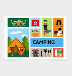 Flat outdoor recreation infographic template vector