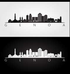 genoa skyline and landmarks silhouette vector image