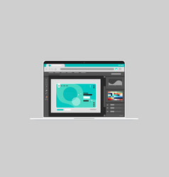 graphic editor on laptop screen creative content vector image