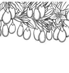 Graphic goji branches repeated seamless vector