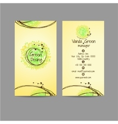 Green dising vertical card with icons of contacts vector