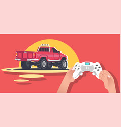Hands holding video game console vector