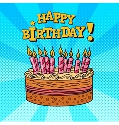 Happy Birthday Greeting Card Pop Art vector image
