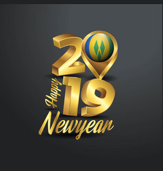 Happy new year 2019 golden typography with saint vector