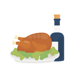 happy thanksgiving day baked turkey and wine vector image
