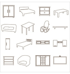 Home furniture types outline icons set eps10 vector
