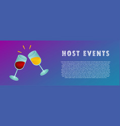 Host events two glasses of wine vector