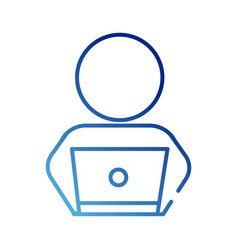 Human figure avatar with laptop gradient style vector