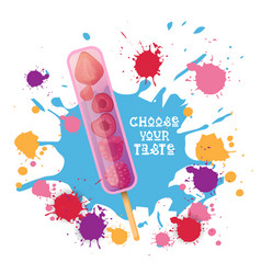 ice cream lolly colorful dessert icon choose your vector image