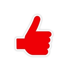 Icon sticker realistic design on paper hand finger vector