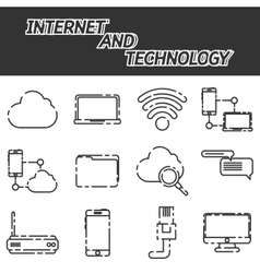 Internet and technology icon set vector image