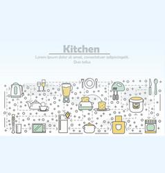 Kitchen advertising flat line art vector