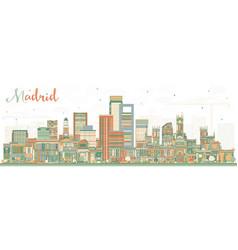 Madrid spain skyline with color buildings vector